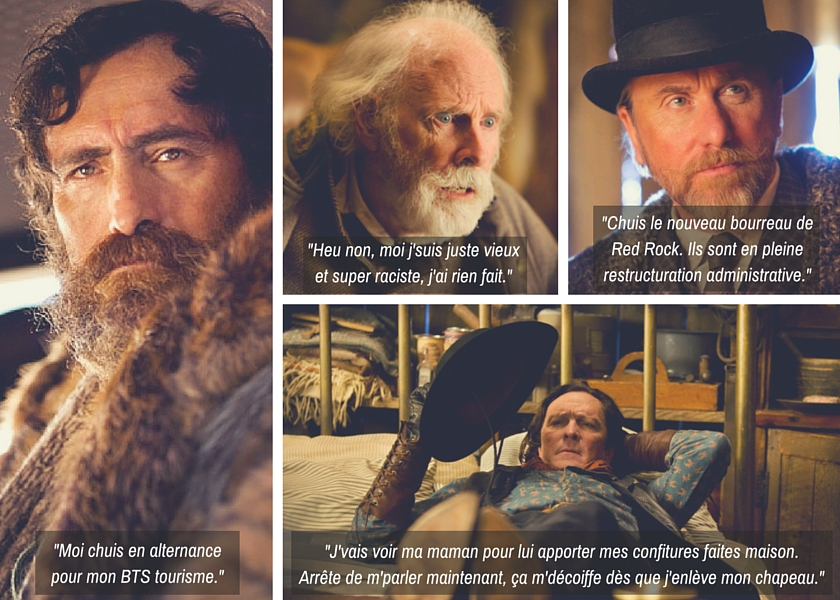Tim Roth, Demian Bichir, Michael Madsen dans The Hateful Eight, de Quentin Tarantino.