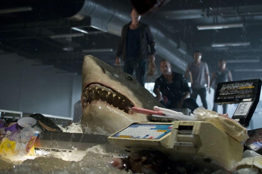 Bait 3D - Première apparition du requin blanc enfermé dans le supermarché.